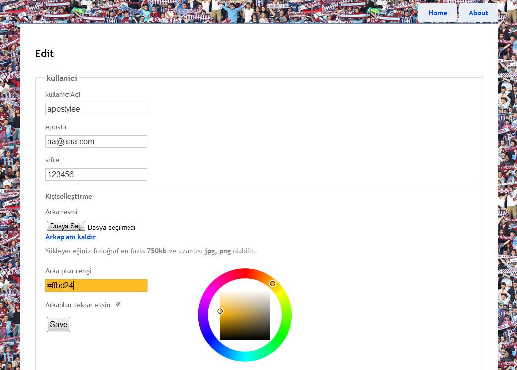 Profil sayfası kişiselleştirme ve ComplexType