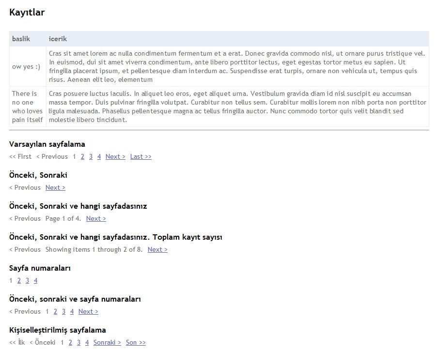 PagedList kullanarak verileri sayfalama