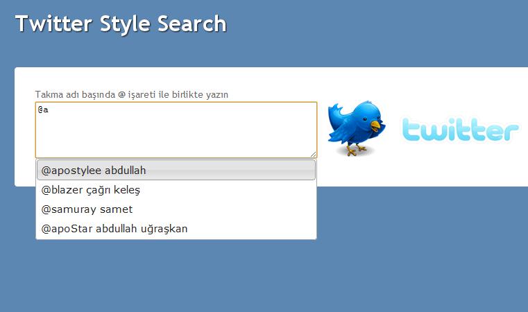 Textbox içinde arama (Twitter Style)