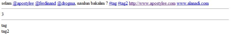 Twitter #hashtag, @kullanici ve url biçimlendirme